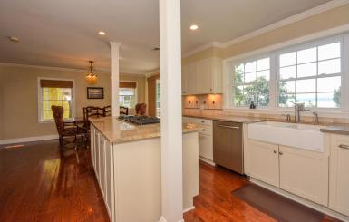 Spacious cook's kitchen with river views