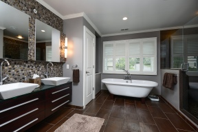 Totally Zen Master bath with separate air jet tub and luxe shower