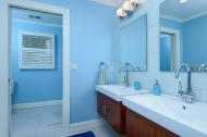 Hall bath with double vanity